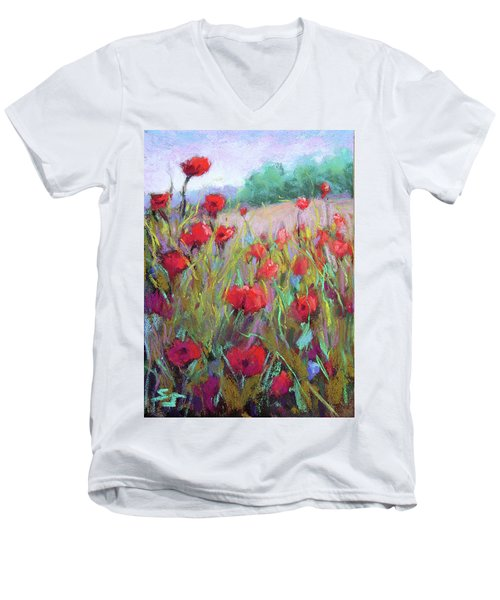Praising Poppies Men's V-Neck T-Shirt