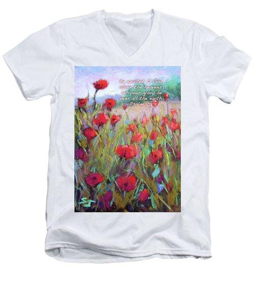 Praising Poppies With Bible Verse Men's V-Neck T-Shirt