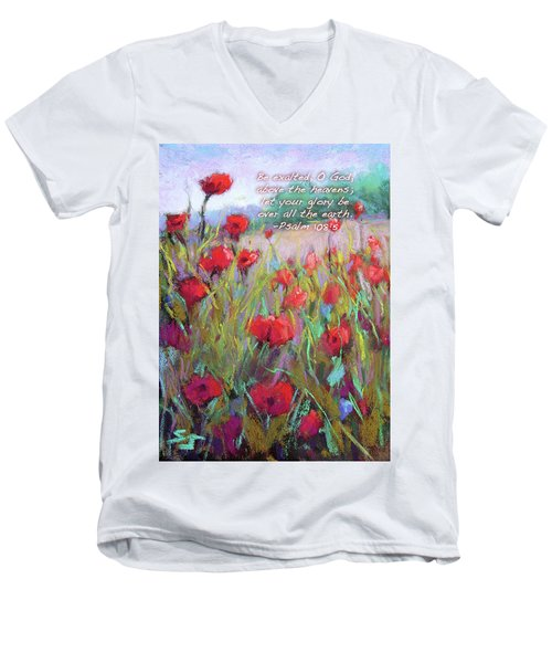 Praising Poppies With Bible Verse Men's V-Neck T-Shirt