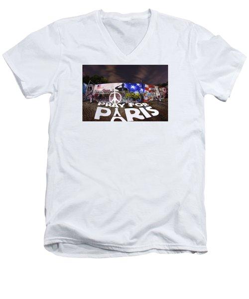 Pray For Paris Men's V-Neck T-Shirt by Andrew Nourse