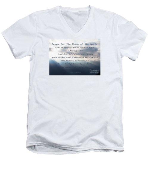 Prayer For The Peace Of The World Men's V-Neck T-Shirt by Agnieszka Ledwon