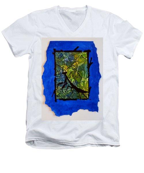 Praying Mantis Silhouette Men's V-Neck T-Shirt
