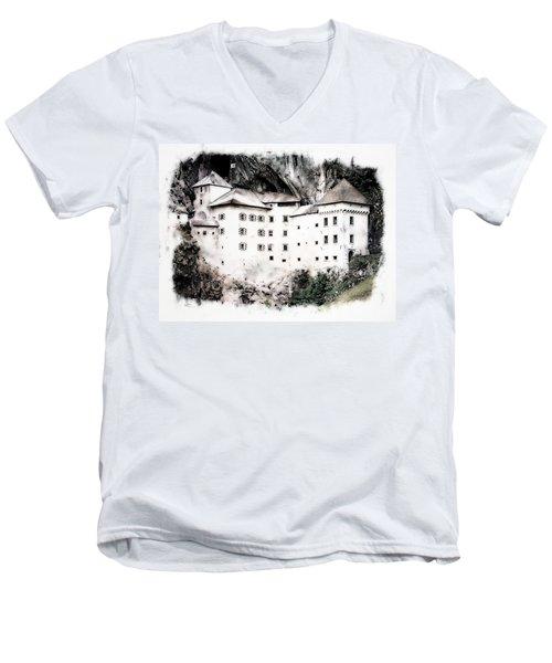 Predjama Castle Men's V-Neck T-Shirt by Joseph Hendrix