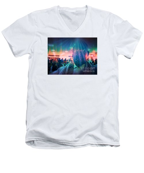 Men's V-Neck T-Shirt featuring the photograph Presence by Fania Simon