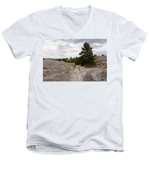 Men's V-Neck T-Shirt featuring the photograph Preserved Wagon Ruts Of The Oregon Trail On The North Platte River by Carol M Highsmith