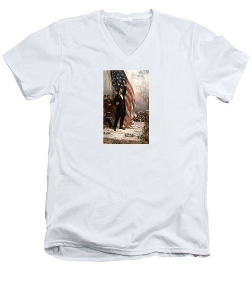President Abraham Lincoln Giving A Speech Men's V-Neck T-Shirt by War Is Hell Store