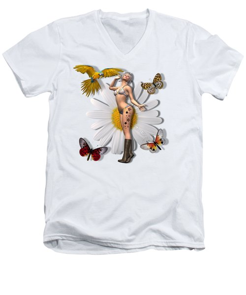 Pretty 3d Woman With Macaw And Butterflies Men's V-Neck T-Shirt