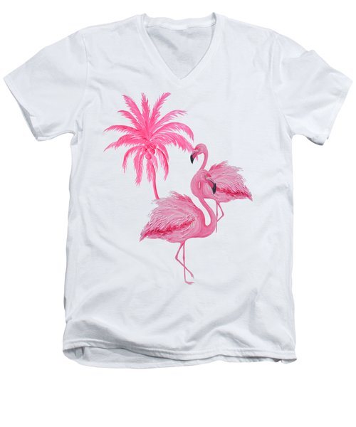 Pretty Flamingos Men's V-Neck T-Shirt