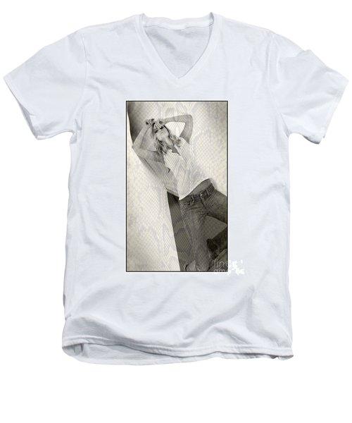 Pretty Girl On Her Knees Men's V-Neck T-Shirt