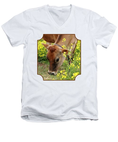 Pretty Jersey Cow Square Men's V-Neck T-Shirt by Gill Billington