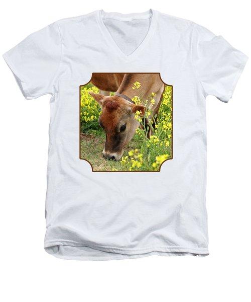 Pretty Jersey Cow Square Men's V-Neck T-Shirt