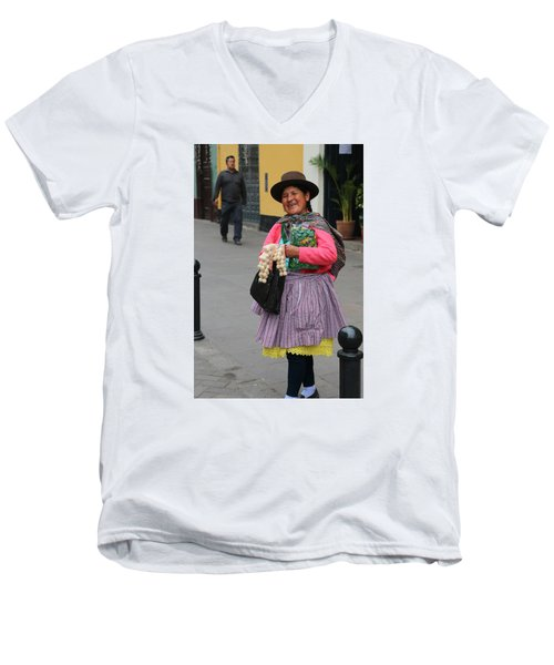 Pretty Lady In Lima Peru Men's V-Neck T-Shirt