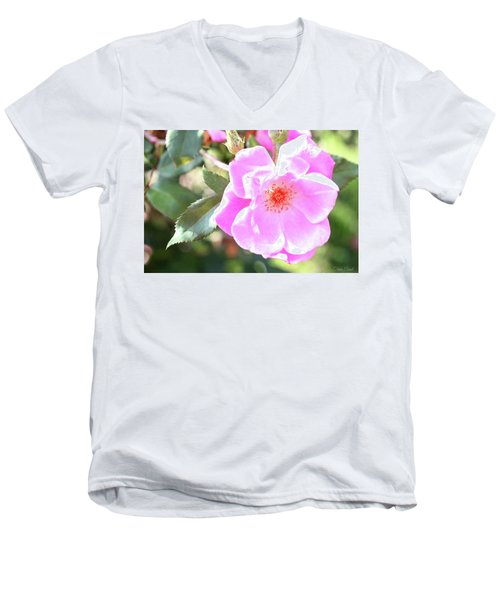 Pretty Pink Rose Men's V-Neck T-Shirt