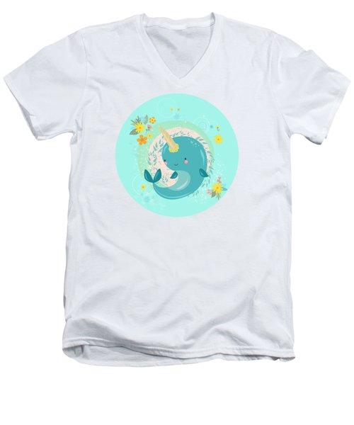 Pretty Princess Narwhal Men's V-Neck T-Shirt