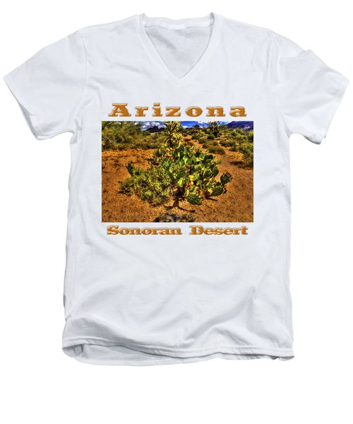 Prickly Pear In Bloom With Brittlebush And Cholla For Company Men's V-Neck T-Shirt
