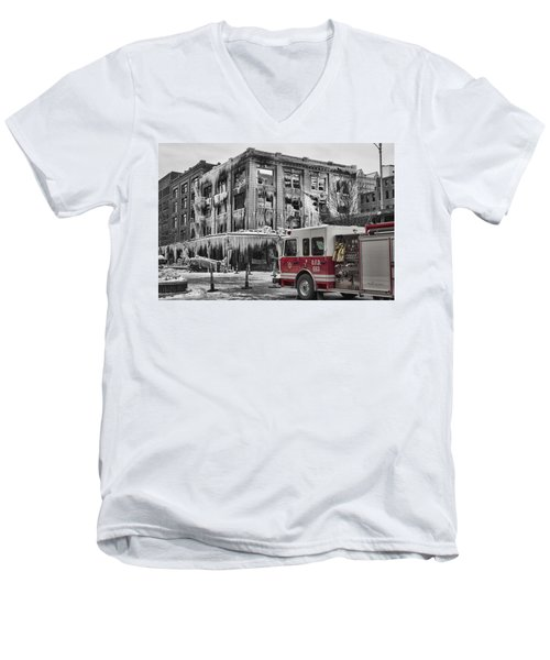 Pride, Commitment, And Service -after The Fire Men's V-Neck T-Shirt