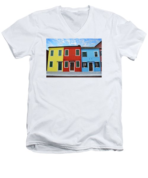 Men's V-Neck T-Shirt featuring the photograph Primary Colors Too Burano Italy by Rebecca Margraf