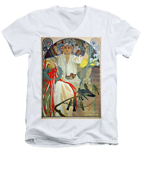 Men's V-Neck T-Shirt featuring the photograph Primavera 1914 by Padre Art