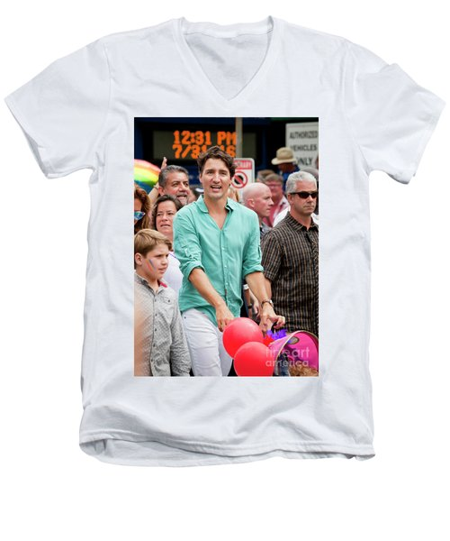 Men's V-Neck T-Shirt featuring the photograph Prime Minister Justin Trudeau by Chris Dutton