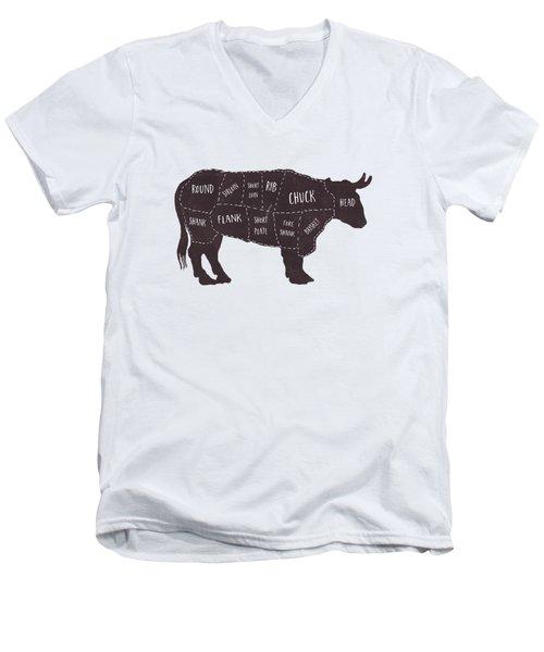 Primitive Butcher Shop Beef Cuts Chart T-shirt Men's V-Neck T-Shirt