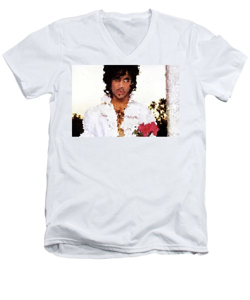Prince Distorted Men's V-Neck T-Shirt by Val Oconnor