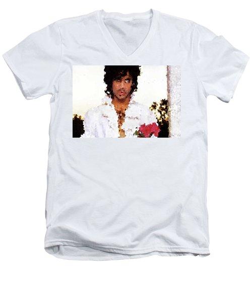 Prince Distorted Men's V-Neck T-Shirt