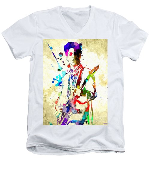 Prince In Concert Men's V-Neck T-Shirt