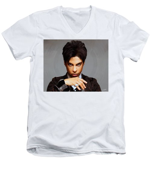 Prince Men's V-Neck T-Shirt by Paul Tagliamonte