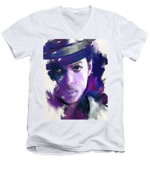 Men's V-Neck T-Shirt featuring the painting Prince by Richard Day