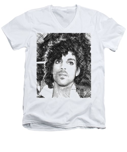 Prince - Tribute Sketch In Black And White 3 Men's V-Neck T-Shirt