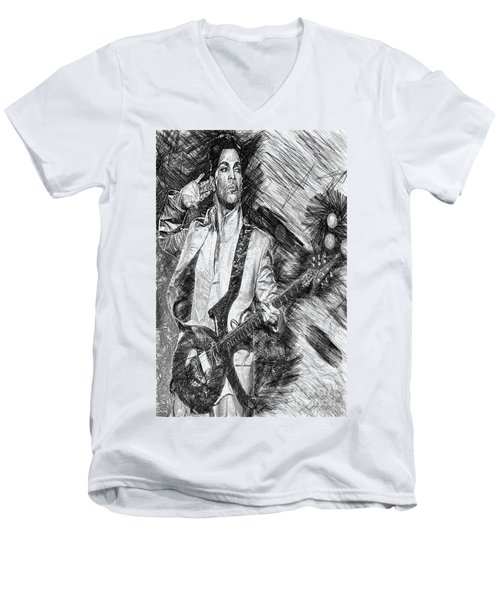 Prince - Tribute With Guitar In Black And White Men's V-Neck T-Shirt