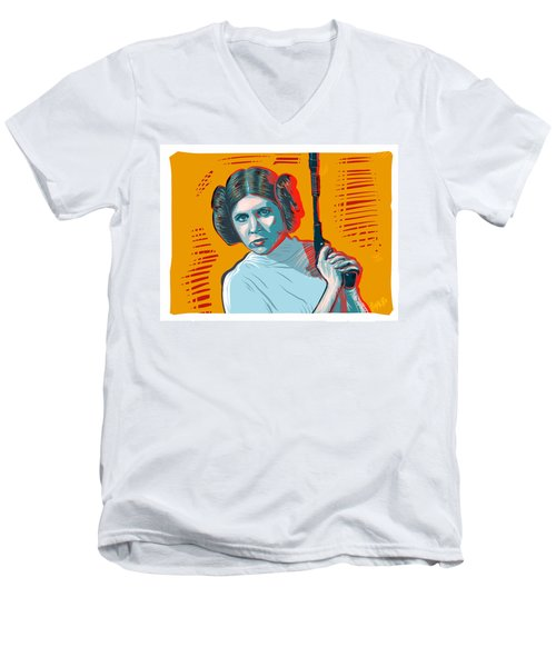 Men's V-Neck T-Shirt featuring the digital art Princess Leia by Antonio Romero