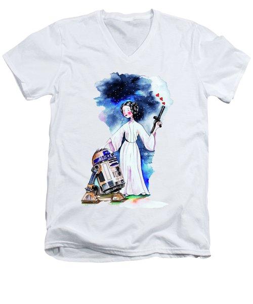 Princess Leia Illustration Men's V-Neck T-Shirt by Isabel Salvador