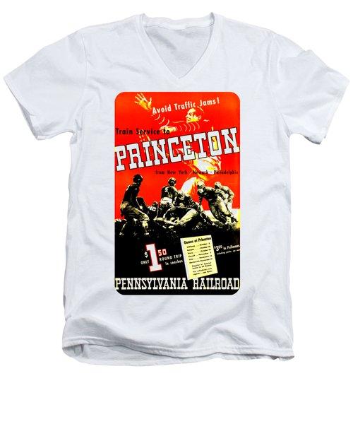 Princeton University Football 1936 Pennsylvania Railroad Men's V-Neck T-Shirt