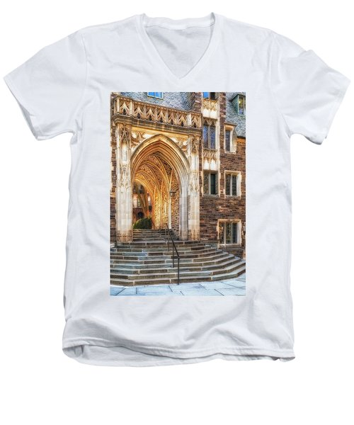Men's V-Neck T-Shirt featuring the photograph Princeton University Lockhart Hall Dorms by Susan Candelario