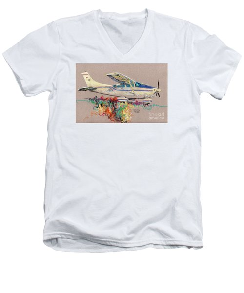 Private Plane Men's V-Neck T-Shirt by Donald Maier