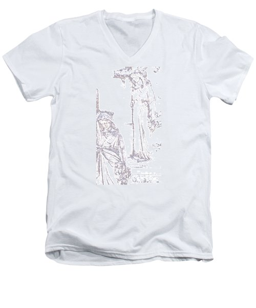 Men's V-Neck T-Shirt featuring the photograph Procession Of Faith 2 by Linda Shafer