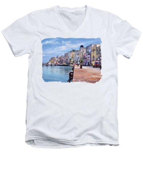 Procida Italy Men's V-Neck T-Shirt by Jennie Breeze