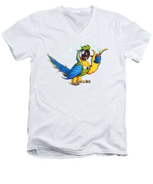 Professor Macaw Men's V-Neck T-Shirt by Stieven Van der Poorten