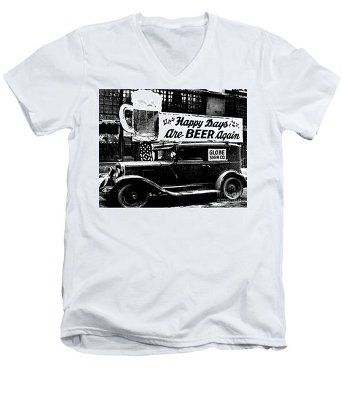 Prohibition Happy Days Are Beer Again Men's V-Neck T-Shirt