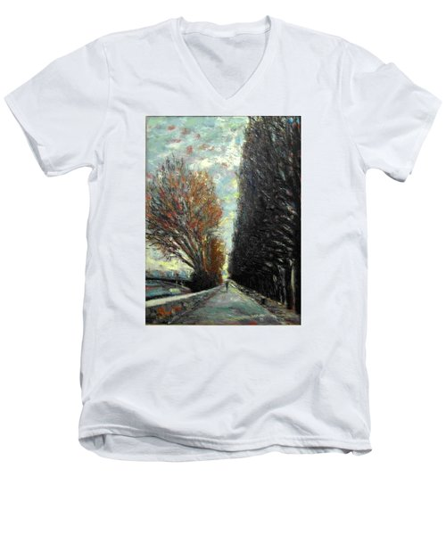 Men's V-Neck T-Shirt featuring the painting Promenade by Walter Casaravilla