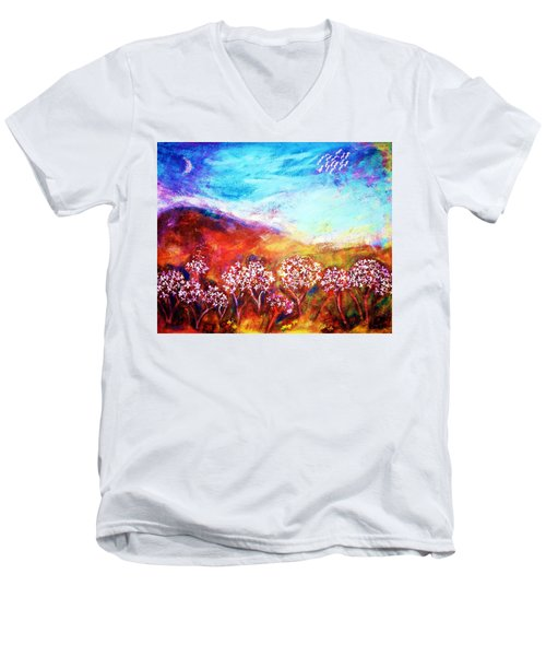 Men's V-Neck T-Shirt featuring the painting Promise by Winsome Gunning