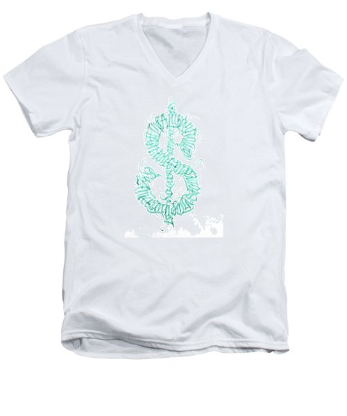 Prosperity. Calligraphy Abstract Men's V-Neck T-Shirt
