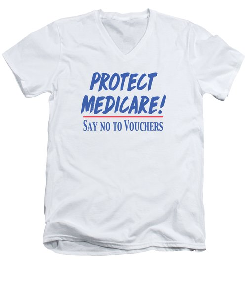 Men's V-Neck T-Shirt featuring the drawing Protect Medicare by Heidi Hermes