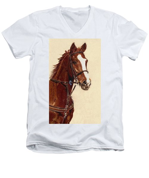 Proud - Portrait Of A Thoroughbred Horse Men's V-Neck T-Shirt by Patricia Barmatz