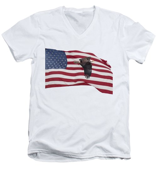 Proud To Be An American Men's V-Neck T-Shirt by Thomas Young