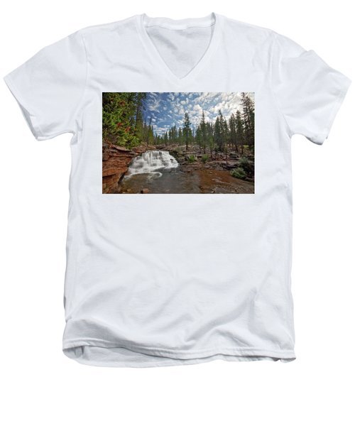 Men's V-Neck T-Shirt featuring the photograph Provo River Falls by Wesley Aston