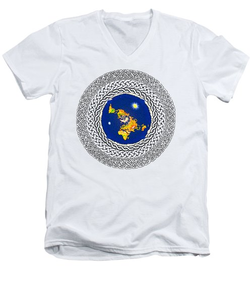 Psalm 37 Flat Earth Men's V-Neck T-Shirt