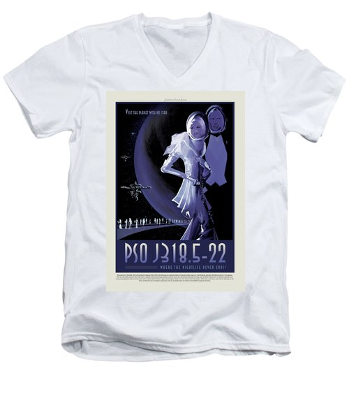 Pso J318.5-22 - Where The Nightlife Never Ends - Vintage Nasa Po Men's V-Neck T-Shirt