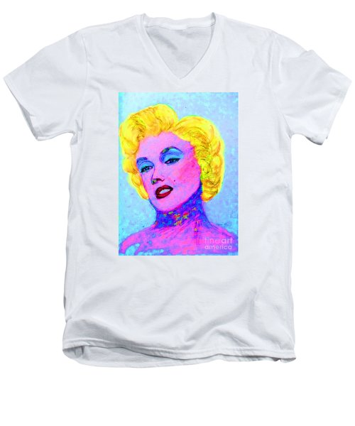 Men's V-Neck T-Shirt featuring the drawing Psychedelic Marilyn by Lyric Lucas